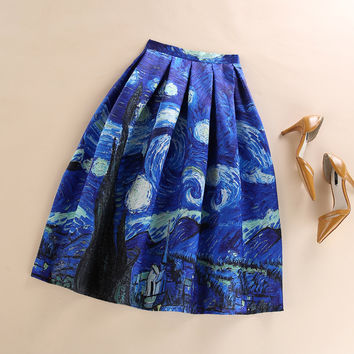 New 50s Vintage Van Gogh Starry Sky Oil Painting 3D Digital Print High Waist Skirt Rockabilly Tutu Retro Puff Skirt