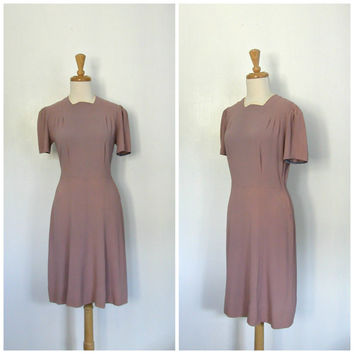 1940s dress / 40s swing dress / mauve dress / court wedding dress / 40s summer dress / tea dress / Medium