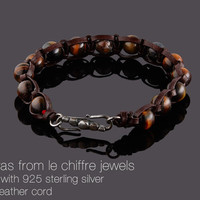 Himalayas tiger eye silver leather shamballa bracelet