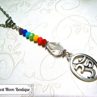 Om Chakra Beaded Necklace Yoga Healing Meditation Jewelry Crystal Wiccan Pagan Spiritual Beaded Silver Necklace Metaphysical 7 Chakras