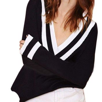 Sexy Long Sleeve Striped Deep V Neck Knit Sweaters