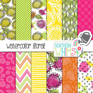 Watercolor Floral Digital Paper - sunflower doodle scrapbook paper with hand drawn patterns - bright pink, yellow, & orange - commercial use