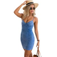2016 NEW Sexy backless denim dress Women vintage bodycon summer dress Beach party short dresses casual blue vestidos