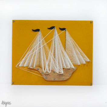 Nautical Art • 1970s Nail + String Wall Hanging • Sail Boat • Pirate Ship • Vintage Ship • 70s String Art • Geometric Modern • Pin + Thread