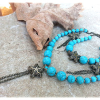 Sea Necklace, Bracelet and Earrings - turquoise set - bronze and turquoise - sea star necklace - antique bronze chain - sea star Earrings