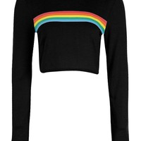 Ruby Rainbow Stripe Knitted Crop | Boohoo