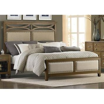 Liberty Furniture Town & Country Panel Bed in Distressed Sandstone w White