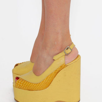 Vintage 70s PLATFORM Shoes Yellow LEATHER & SNAKESKIN Shoes Platform Sandals Disco Shoes Size 5