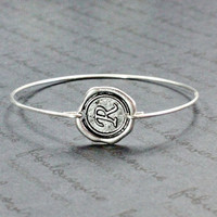 Personalized Initial Bangle Bracelet,  Monogram Silver Initial Bracelet, Customized Wax Seal Letter Initial Bangle Bracelet