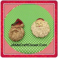 Santa Claus Face Magnets Vintage Christmas Holiday Decoration Kitchen Decor SET OF 2