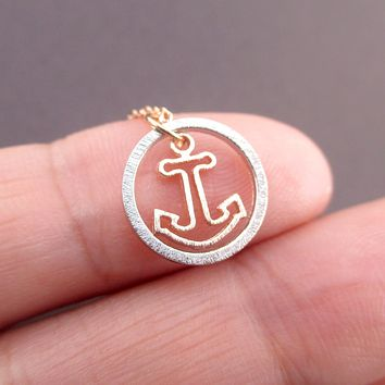 Small Nautical Themed Anchor Inside A Hoop Shaped Pendant Necklace