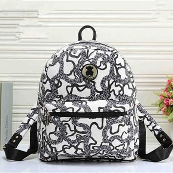 """""""TOUS"""" Personality Fashion Multicolor Print Backpack Women Casual Double Shoulder Bag"""