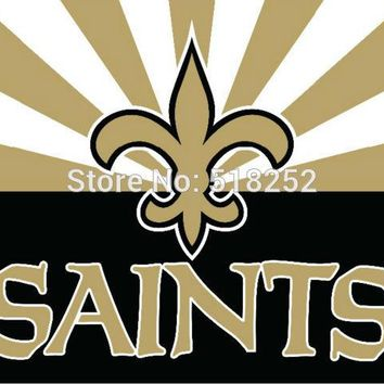 New Orleans Saints with new style Flag  3x5 FT 150X90CM NFL Banner 100D Polyester Custom flag grommets 6038,free shipping
