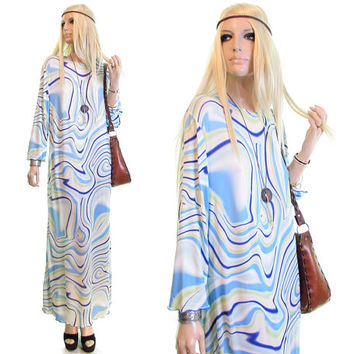 surf waves dress psychedelic dress hippie festival trippy dress blue white ocean waves maxi dress hippy boho bohemian dress women's clothing