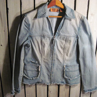 Very Cute Vintage Frayed Ombre Jean Jacket, Size Medium