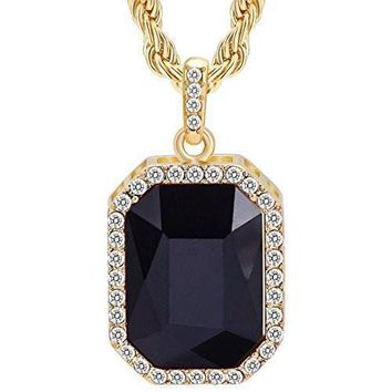 AUGUAU BENZINOOSALES 14K New Gold Plated Mens Iced Out Ruby Octagon Hip Hop Pendant with 3mm 24  Rope Chain
