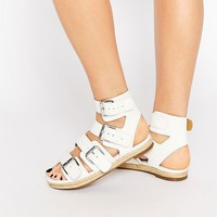 Kendall & Kylie Jackie White Leather Multi Buckle Espadrille Flat Sandals at asos.com
