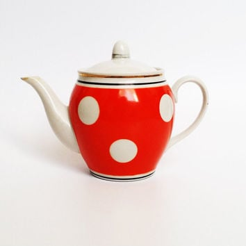 Vintage ceramic bright orange polka dot teapot from the Soviet era, with gold details on the rim and lid (1970s)