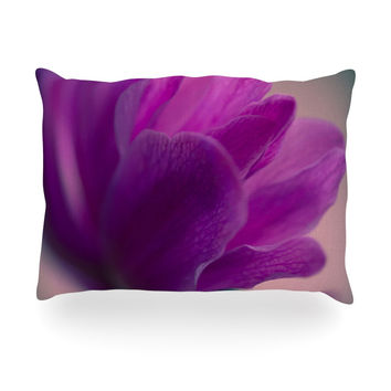 "Ann Barnes ""Standing Ovation"" Purple Flower Oblong Pillow"
