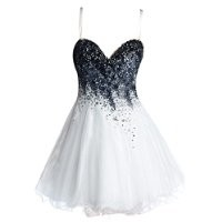VILAVI Womens A-line Short Tulle Crystal Beading Graduation Dresses 2 White