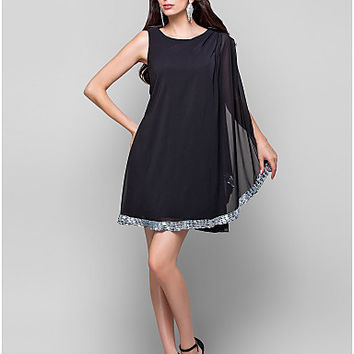 Alice Drape Detail Black Dress