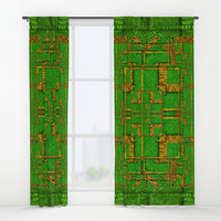 golden green and  sunshine pop-art Window Curtains by Pepita Selles