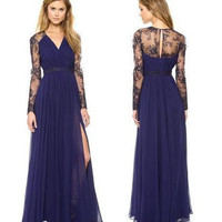 Creative Hot Sale Lace V-neck Long Sleeve Chiffon Mosaic Prom Dress One Piece Dress [4918633668]