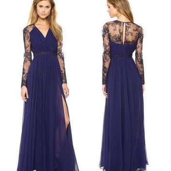 5913de8cbe5 Creative Hot Sale Lace V-neck Long Sleeve Chiffon Mosaic Prom Dr. Prom  dresses ...