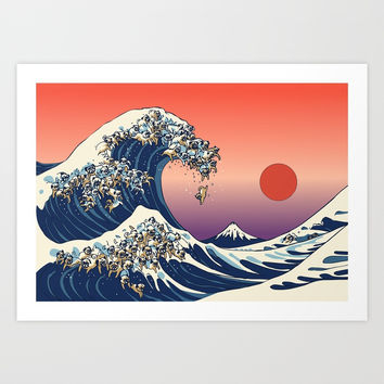 The Great Wave of Pug Art Print by huebucket