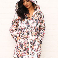 Festival Raincoat Mac with Floral Print in Multi