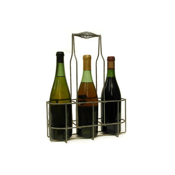 French Bottle Carrier. Vintage French Zinc Basket. Vintage Bottle Caddy. French Wine Bottle Holder. Wine Storage. Milk Bottle Carrier.