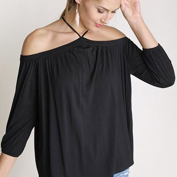 Sing It Now Black Spaghetti Strap Cold Shoulder Top
