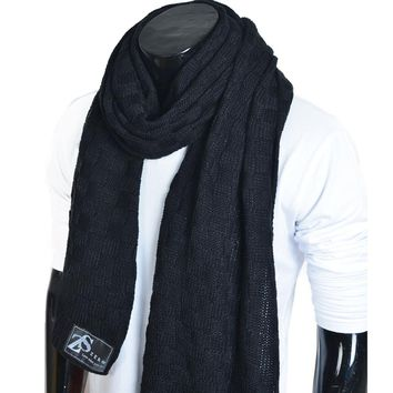 Men Knitting Long Scarf Warm Unisex Cold Weather Scarves Winter Muffler FORBUSITE
