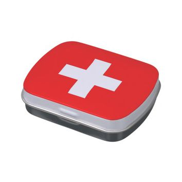 Patriotic candy tins with Flag of Switzerland