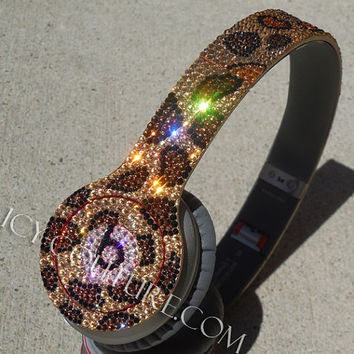 Sparkling LEOPARD Bling BEATS by Dre with Swarovski Crystals