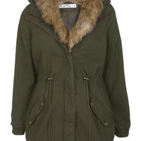 Petites Khaki Shawl Parka - View All  - New In