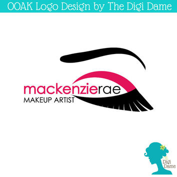 OOAK Premade Logo Design: Makeup Artist Eyelashes in Crimson Red and Black