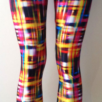 Soul Trend Womens Leggings/Tights/Printed Nylon Spandex Stretch Fabric/Blue Red Pink Yellow Black Blurred Print Size 8, 10, 12, 14, 16 New
