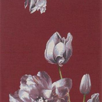 An Armful of Purple Tulips Red  French Table Runner