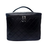 Black Quilted Travel Cosmetic Case