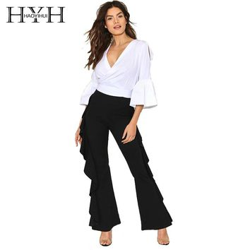 HYH HAOYIHUI Fashion Flare Pants Brief Loose Ankle-Length Female Pants Women Casual Ruffles Solid Black Mid Waist Pants