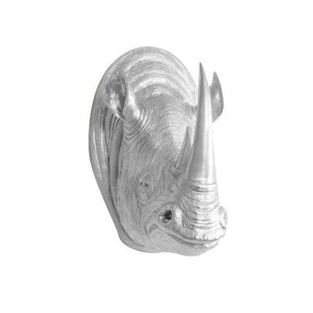 The Serengeti | Large Rhino Head | Faux Taxidermy | Silver Resin