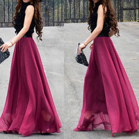 women's wine red silk Chiffon 8 meters of skirt circumference  long dress maxi skirt qz02