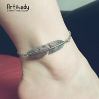 Artilady tree leaf ankle bracelet