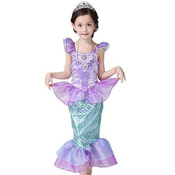 2017 New Girls Dress Little Mermaid Fancy Dressed Kids Clothing Girls Mermaid Dresses Princess Ariel Cosplay for Summer Swimming