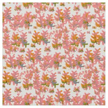 Shades of Orange Fall Colored Leaves Pattern Fabric