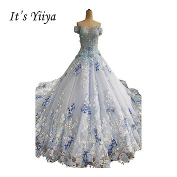 It's YiiYa Blue Off Shoulder Crystal Luxury Flowers Beading Wedding Dress High Grade Sequined Appliques Train Bride Dress XNE195
