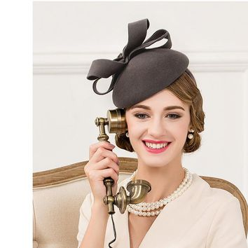 British Bow Dark Gray Vintage Fascinator