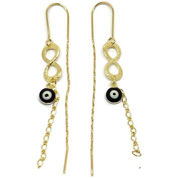 Infinity Black Evil Eye Threaders Earrings 18K of Gold-Filled