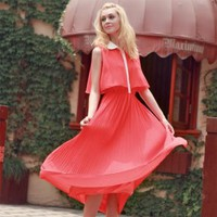 Bqueen Pleated Chiffon Red Dress GG08R - Designer Shoes|Bqueenshoes.com